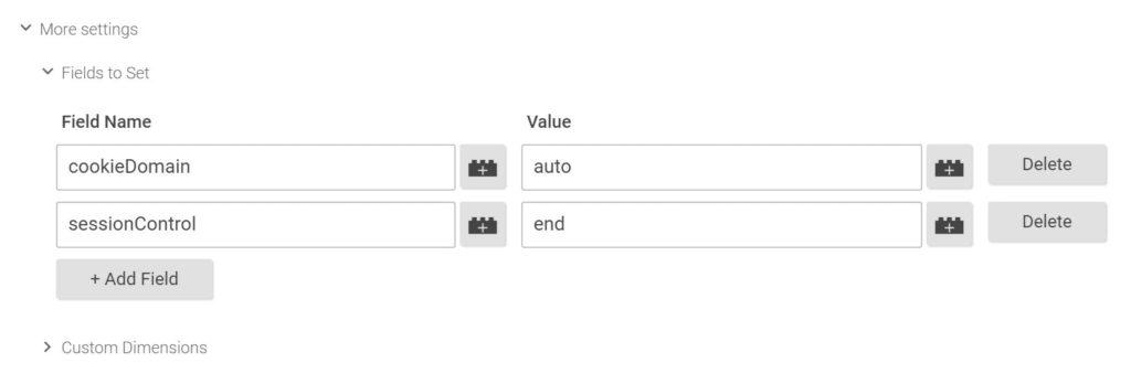 принудительное завершение сеанса Google Analytics - sessionControl field